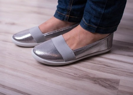 Srebrne balerinki slip on