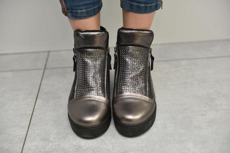 Sneakersy srebrne metaliczne